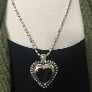 💝 Silver 925 HEART w/Black Enamel - PENDANT ONLY